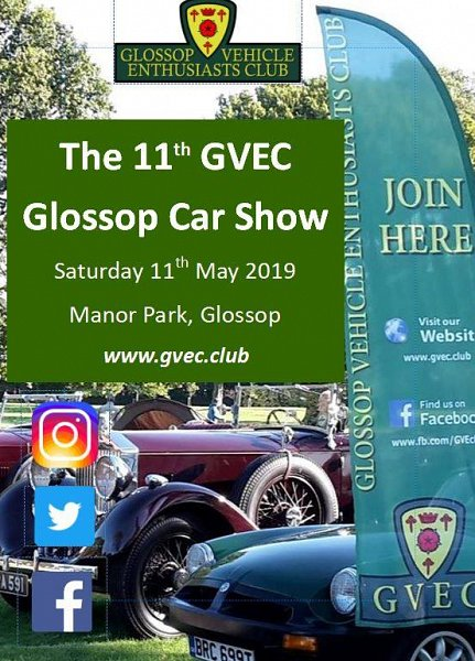 Glossop Car Show Manor Park Saturday 11th May 10.30 to 4.00