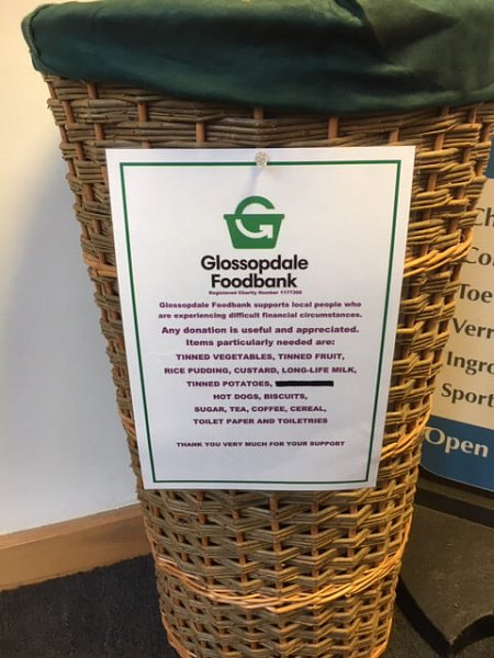 New  Donation Basket at Glossop Wholefoods. 7 Norfolk Square ,Glossop.